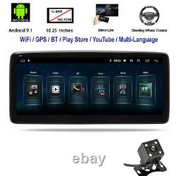 10.25in 1DIN Android9.1 Car Radio Stereo MP5 Player GPS Nav WiFi BT FM+Camera