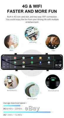 12 Android 8.1 4G Wifi GPS Car DVR Camera Dash Cam Rear View Mirror Recorde