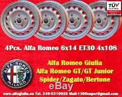 4 Cerchi Alfa Romeo 6x14 ET30 Giulia GT GTA Wheels Felgen llantas jantes TUV