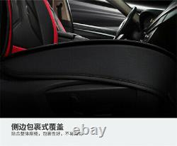 Black/Red Luxury Leather 5-Seats Car Front+Rear Seat Cover Cushion Accessories