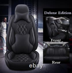 Car SUV Seat Covers Deluxe PU leather 5-Seats Front+Rear Cushions With Pillows