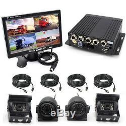 DC12-24V 4CH DVR Video Recorder Box+4Night Vision HD Cameras+7 Monitor Car SUV