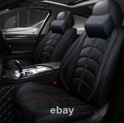 Deluxe Cushion PU Leather Black Car Seat Covers Full Set Accessories 4 Seasons