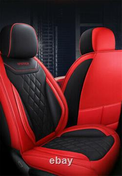 Full Set 5D Surrounded Car Seat Cover Luxury PU Leather Seat Cushions Black/Red