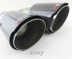 H Shape 2 Pcs Glossy Real Carbon Fiber 63-89mm Car Dual Tip Exhaust Muffler Pipe