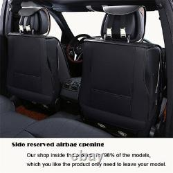 PU Leather Car 5-Seat Seat Covers Protector Cushion Durable Wear Resistant Black