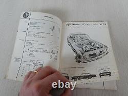 Raro Manuale Uso Manutenzione Originale Alfa Romeo Giulia Sprint 1600 Gta 1965