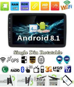 Touchscreen 9 1Din Quad-Core Rotatable Android 8.1 Car GPS Wifi BT Stereo Radio