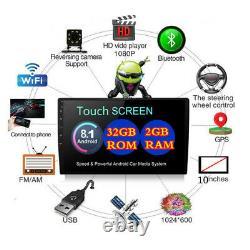 1 Din 10.1inch Réglable Ram Android 8.1 2 Go Rom 32go Car Stereo Radio Wifi Gps