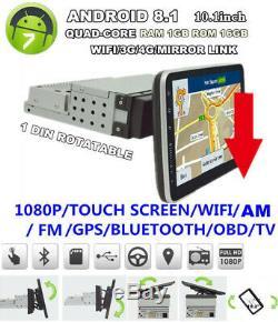 10.1 1din Rotatif Écran Tactile Tête Unité Gps Auto Navs Mp5 Stereo Radio