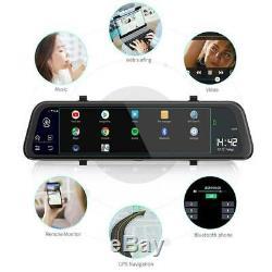 2-lens 12 '' Caméra Dash Dvr Voiture Android Gps 4g Wifi Adas Rearview Mirror 2g + 32g