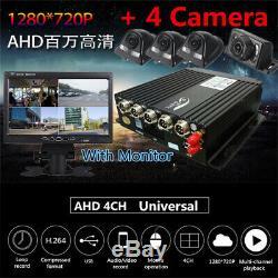 4ch 720p Panoramique À 360 ° Dvr Enregistreur Vidéo En Temps Réel Sd + 4cameras + 7 '' Moniteur