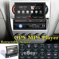 7 Écran Hd Radio Voiture Gps Rétractable Stéréo Unité Principale 1din Lecteur Bluetooth