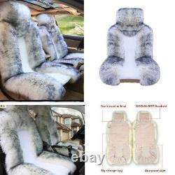 Chaud! White&grey 2 Couverture De Siège De Voiture Avant En Peluche Warm Winter Universal 13863 CM