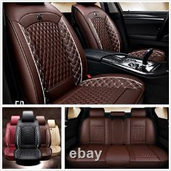 Coffee Luxury Pu Leather 5-sit Car Suv Seat Covers Breathable Full Set Covers