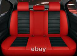 Deluxe Edition Full Seat Pu Leather Car Seat Coussins Noir/rouge + Accoudoir