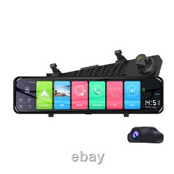 Écran Tactile 12 Dual Lens Car Dvr Rear View Mirror Camera Recorder Dash Cam 4g