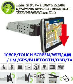 Écran Tactile 9 1din Quad-core Android 8.1 Gps Rotatif Voiture Wifi Bt Stereo Radio
