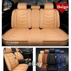 Ensemble Complet Pu Beige Car Seat Protector Housse De Coussin Intérieur Auto Accessoires