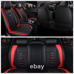 Le Siège D'auto Haut De Gamme Couvre L'ensemble Complet En Cuir Pu Noir/rouge Pour Les Accessoires D'intérieur