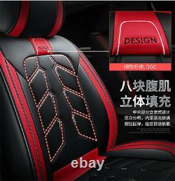 Noir / Rouge En Cuir De Luxe 5 Sièges Auto Avant + Accessoires Coussin De Couverture De Sièges Arrières