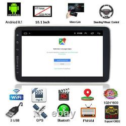 Rotatable 10.1po 1din Android 8.1 Voiture Stereo Radio Gps Sat Nav Wifi Mp5 Player