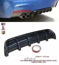 Universal Rear Bumper Diffuseur Spoiler Wings Valance Fibre De Carbone-alf1