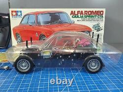 Vintage Tamiya 1/10 Rc Alfa Romeo Giulia Sprint Gta M-04m Partielle Construite Avec Radio